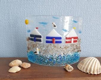 Beach huts suncatcher, Seaside fused glass, Summer scene, Freestanding suncatcher