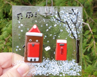 Make your own Christmas Robin scene, Fused glass Christmas Robin kit, firing included in cost.