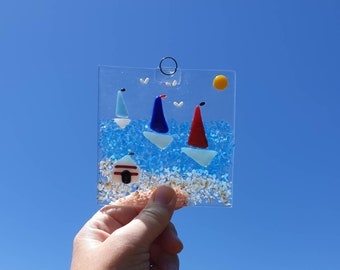 Fused glass kit, beach and sailing boats project, make at home seaside suncatcher kit, firing included in cost.