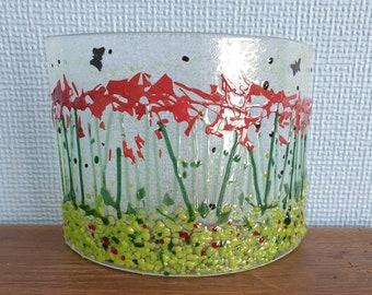 Red flowers freestanding suncatcher, poppy suncatcher
