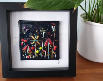Midnight Garden, Fused glass flower picture, framed fused glass wall art,