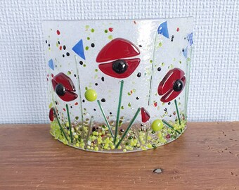 Freestanding  poppy suncatcher in fused glass, candle cover, poppy art, remembrance