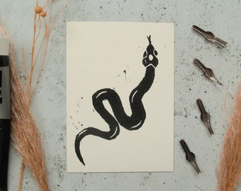 Snake Lino Print - Printed Art, Art Print, Wall Print, Home Decor, Snake Art, Lino Cut, Linoleum Print, Animal, Serpent, Reptile