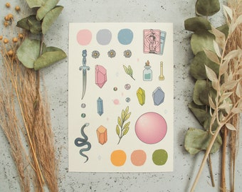 Crystal Witch Mood Board Prints - Witch Art, Printed Art, Set, Art Print, Wall Print, Home Decor, Witch Aesthetic, MoodBoard, Colour Palette