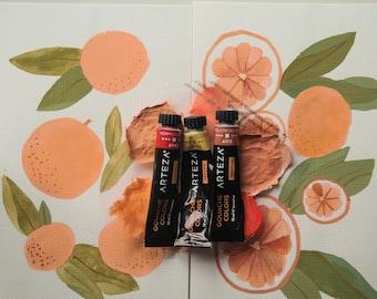Orange Gouache Paintings - Gouache Art, Gouache Painting, Fruit Art, Art Print, Wall Print, Home Decor, Food Art, Orange Art