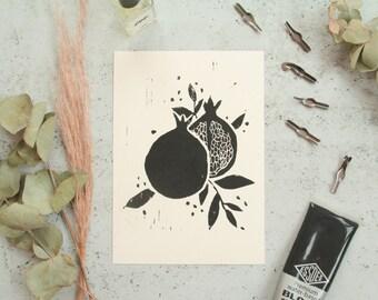 Pomegranate Lino Print - Printed Art, Art Print, Wall Print, Home Decor, Snake Art, Lino Cut, Linoleum Print, Fruite, Food, Block Print