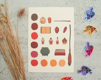 Element Witch Mood Board Prints - Witch Art, Printed Art, Set, Art Print, Wall Print, Home Decor, Witch Aesthetic, MoodBoard, Colour Palette