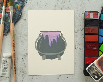 Witch Kit Gouache Painting Set - Gouache Art, Gouache Painting, Wall Print, Home Decor, Minimal Art, Witch Vibes, Magic, Magical, Crystals