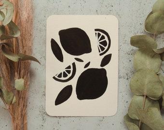 Lemon Silhouette Gouache Painting - Gouache Art, Gouache Painting, Wall Print, Home Decor, Flowers, Botanical Art, Floral Art, Minimal Art