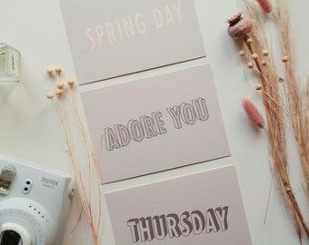 Typography Art Prints - Lyrics, Printed Art, Set, Art Print, Postcards, Wall Print, Home Decor, Lyrics Art, Music