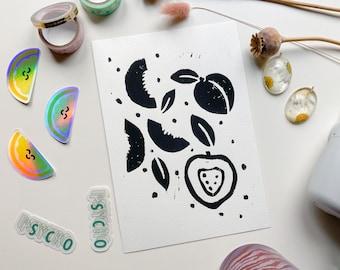 Peach Lino Print - Printed Art, Art Print, Wall Print, Home Decor, Fruit Art, Lino Cut, Linoleum Print