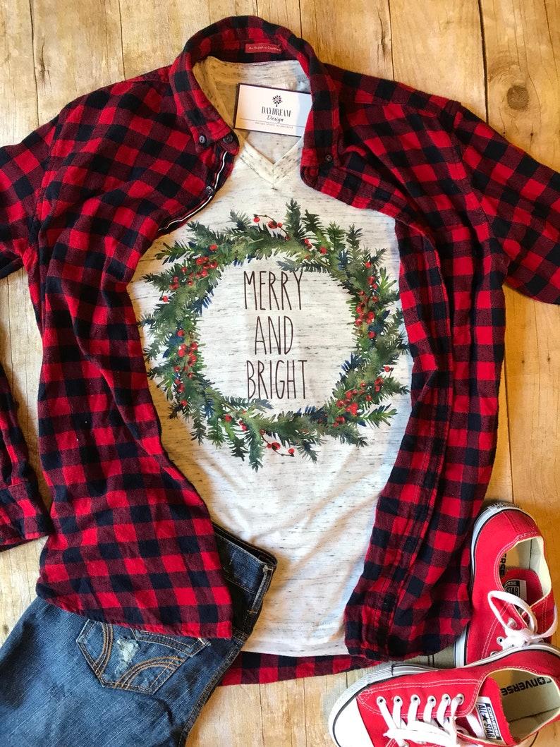 Christmas Shirt for Women Merry and Bright Shirt Christmas image 0