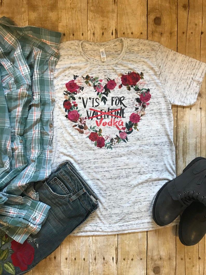 7adc3b001 Valentines Day Shirt V is For Vodka Shirt Birthday Gift for | Etsy
