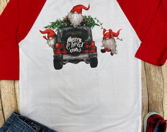 Gnome Christmas Shirt, Christmas Shirts for Her, Unisex Christmas Shirt, Christmas Shirt with Gnomes, Christmas Shirt for Men, Buffalo Plaid