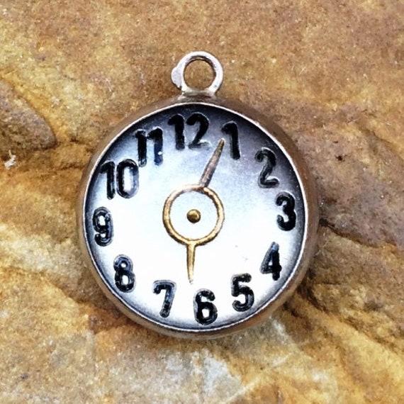 Vintage Clock Charm Intaglio Clock Charm Sterling
