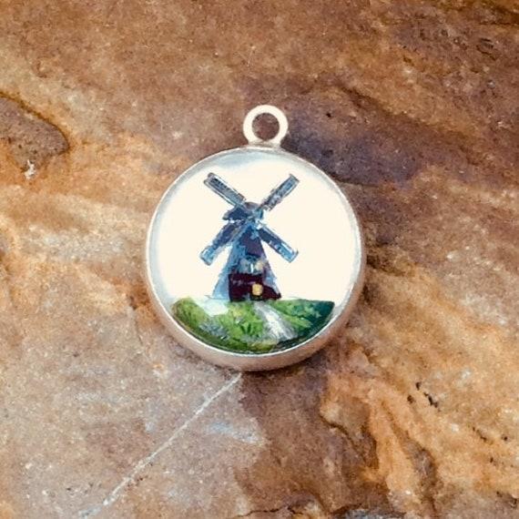 Vintage Dutch Windmill Charm Intaglio Charm Sterli
