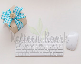 Styled Stock Photography Desktop,  Simple and Elegant Background Flat Lay, Social Media, Mock-up, Teal, Brown, and White, Two Images