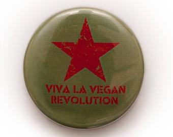 Vegan Badge - Viva La Vegan Revoilution Vegetarian Animal Liberation Rights Veggie 38mm Pin Button Badge Gift Activist Anti Meat Dairy Peace