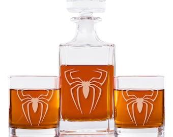 Spider Man Decanter and Engraved Rocks Glasses, Set of 3, DC2PCRCK10OZ-AQ132K, Holiday Gift