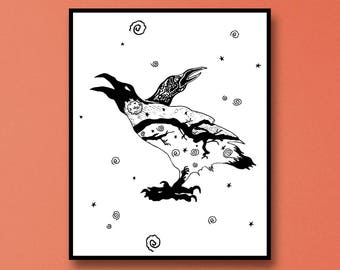 Edgar Allan Poe The Raven Wall Art -  Edgar Allan Poe Art - Edgar Allan Poe Print - Raven Wall Art - Raven Abstract Art - Raven Wall Art