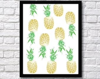 Pineapple Art Print - Tropical Wall Art - Fruit Wall Art - Pineapple Imprint Style - Pineapple Wall Art Decor - Pineapple Art Decor Prints