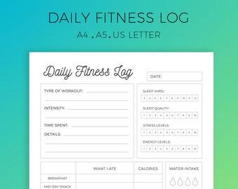 workout log printable exercise log workout planner workout etsy
