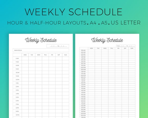 weekly schedule printable hourly layout half hour layout etsy