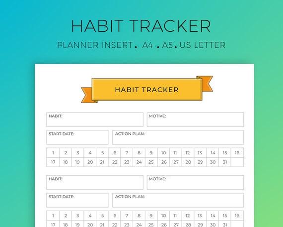 Ziel-Tracker Habit Tracker Planer einfügen Erfolg Planer | Etsy
