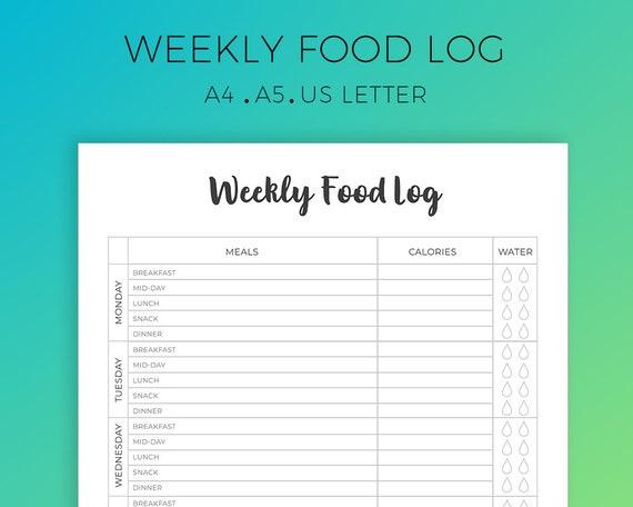 weekly food log printable daily food tracker diet planner etsy