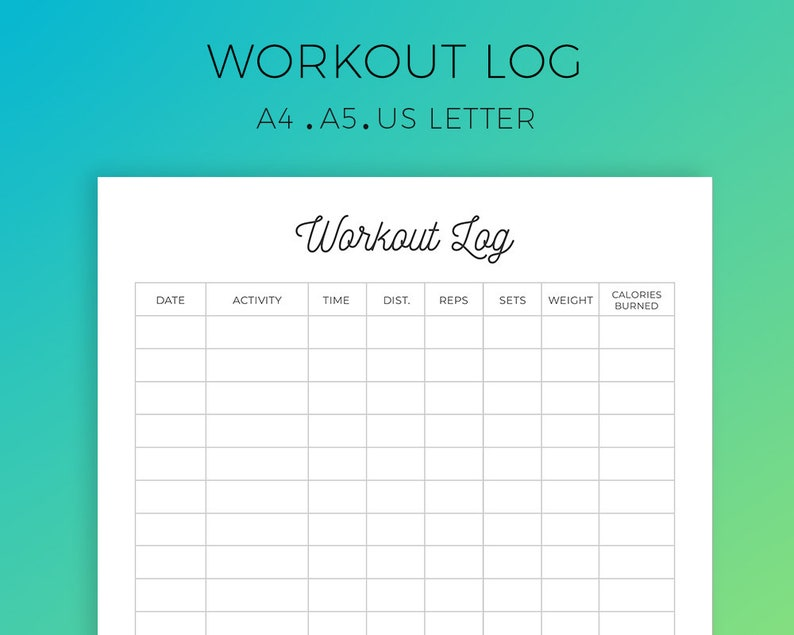 graphic relating to Printable Workout Log identified as Exercise Log Printable, Physical fitness Log, Work out Planner, Exercise Tracker, Exercise Tracker, Health Magazine, Conditioning Physical fitness, A4, A5,US Letter