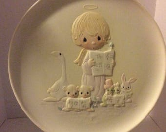 """Precious Moments Christmas Collectible Plate #06430 Second Issue in Collection """" Let Heaven and Nature Sing """" William Biel & Sam Butcher"""