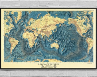 Blue ocean world map etsy map ocean floors lands relief old map poster vintage cartography digital map world ocean theme wall art decor instant download gumiabroncs Images