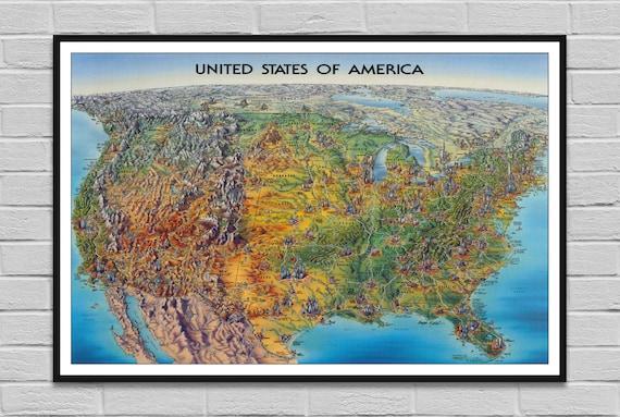 Art History United States Map Print Canvas Art Framed Art 1945 United States Map Wall Art Poster Art Map Wall Prints Prints Wall Art