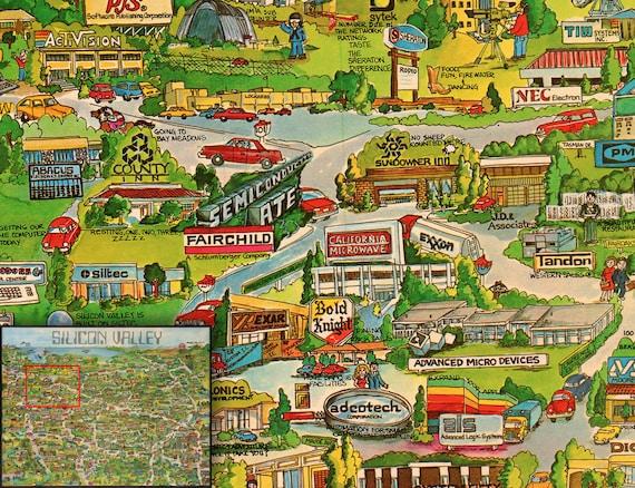 Silicon Valley Karte.Silicon Valley California Karte Corp Alte Us Karte Es Digitales Poster Grosse Grosse Digitale Karte Wand Dekor Kunst Illustration Instant