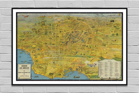 photograph regarding Printable Map of Los Angeles referred to as Los Angeles map electronic poster / aged print case in point / massive enormous common map / wall artwork decor mapping Californian present / Prompt Obtain