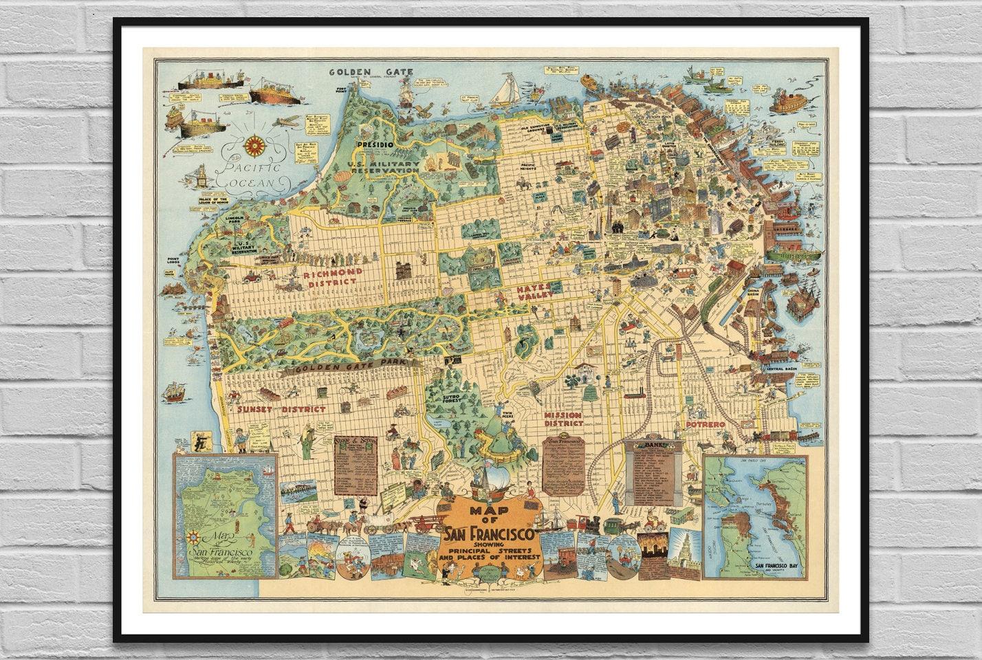 Map of San Francisco USA / vintage old map poster / big large | Etsy