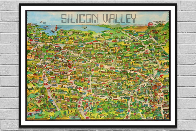 Silicon Valley Karte.Silicon Valley California Karte Corp Alte Us Karte Es Digitales Poster Große Große Digitale Karte Wand Dekor Kunst Illustration Instant