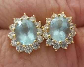 Earrings with Brazilian ACQUAMARINE SANTA MARIA 3.40 carats absolutely natural total on 18kt yellow gold filled, certified in batch
