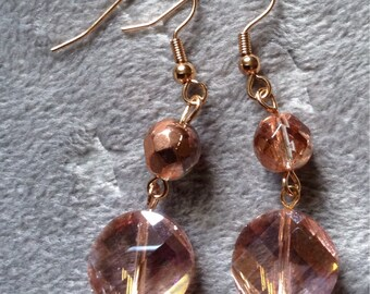 Peach crystals on rose gold earrings