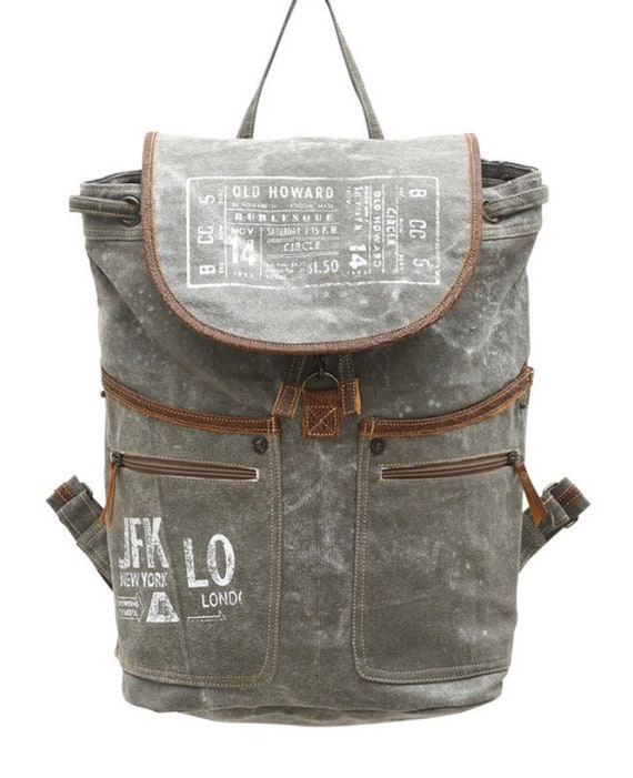 Burlesque JFK recycled Backpack Recycled from Tent Canvas