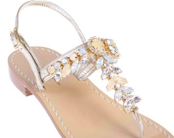 f8bed1fd2 MADE IN ITALY Italian Artisan Crafted Jeweled Sandals w Tuscan Leather.  Beige Neutral Crystal Sandal w Platinum Leather