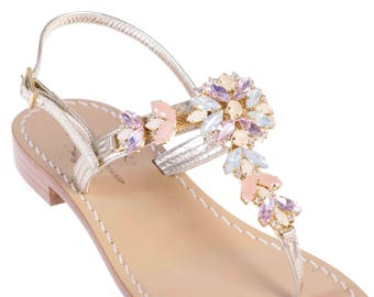 73db847254b27 MADE IN ITALY Italian Artisan Jeweled Sandals w Tuscan Leather. Pink  Crystals with Platinum Leather