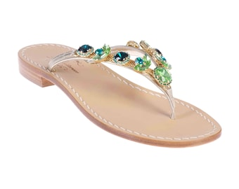 8739c014cf9d MADE IN ITALY Artisan Made Jeweled Sandals w Tuscan Leather. Emerald Green  Crystal Sandal w Platinum Leather