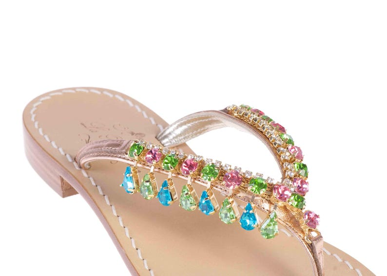 Pink Crystals with Platinum Leather MADE IN ITALY Italian Artisan Jeweled Sandals w Tuscan Leather
