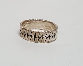 Sterling Silver Tire Tread Ring Band size 10