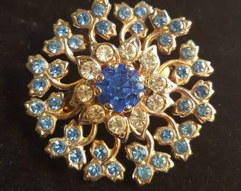 Vintage Jeweled Flower Brooch