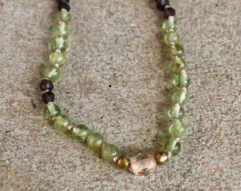 Peridot, smoky quartz and Swarovski crystal delicate necklace