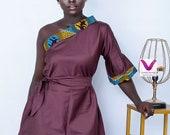 Eno African Print One-Shoulder Dress African print dress, Ankara one shoulder dress, African wax dress