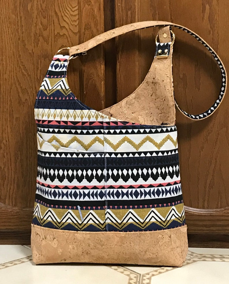 handmade stylish bag artisan fabric from Thailand Shoulder bag cork bag gold speckled cork