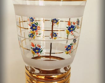 1950's hand painted glass vase